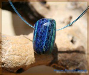 Azurit-Malachit Trommelstein gebohrt