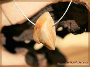 Opalholz (Holzopal versteinertes Holz opalisiert) Trommelstein gebohrt