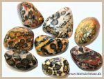 Leopardenjaspis Leopardenstein Leopardenfell-Rhyolith Trommelsteine