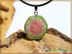Wassermelonenturmalin Kristallquerschnitt Scheibenstein an Silberöse