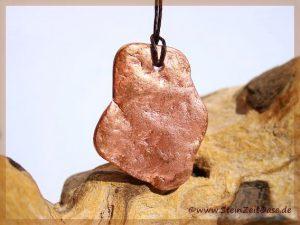 Kupfer-Nugget Scheibenstein gebohrt
